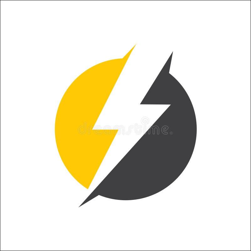 Strom, Blitzikonen-Logovektor mit Kreis stock abbildung