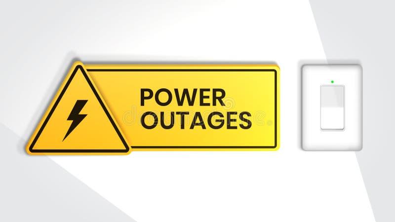 Stromausfall, Warnposter mit Stromschalter und ein schönes Dreieckssymbol für Elektrizität stock abbildung