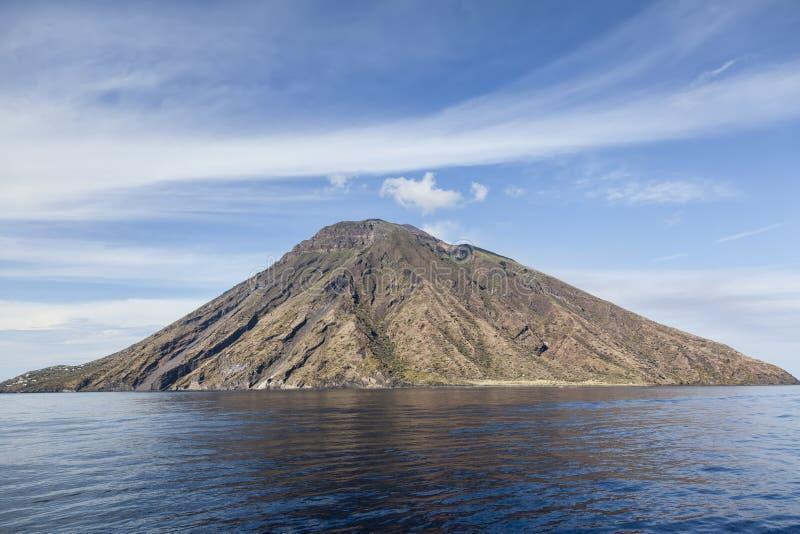 Stromboli. Island of Stromboli in daylight royalty free stock photography