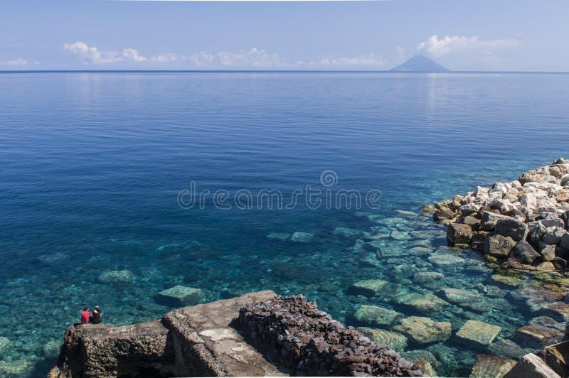 Stromboli from the island of Salina royalty free stock photography