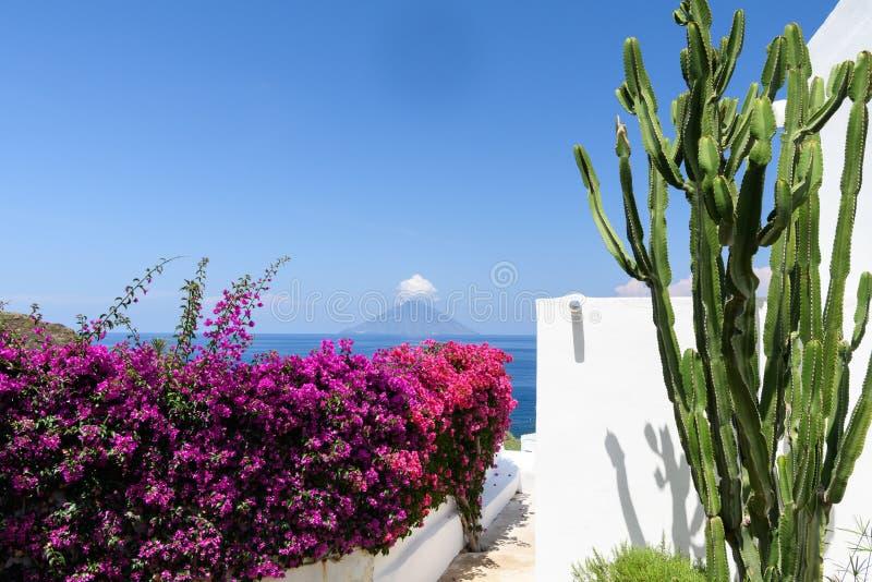 Stromboli Powulkanicznej wyspy krajobraz fotografia royalty free