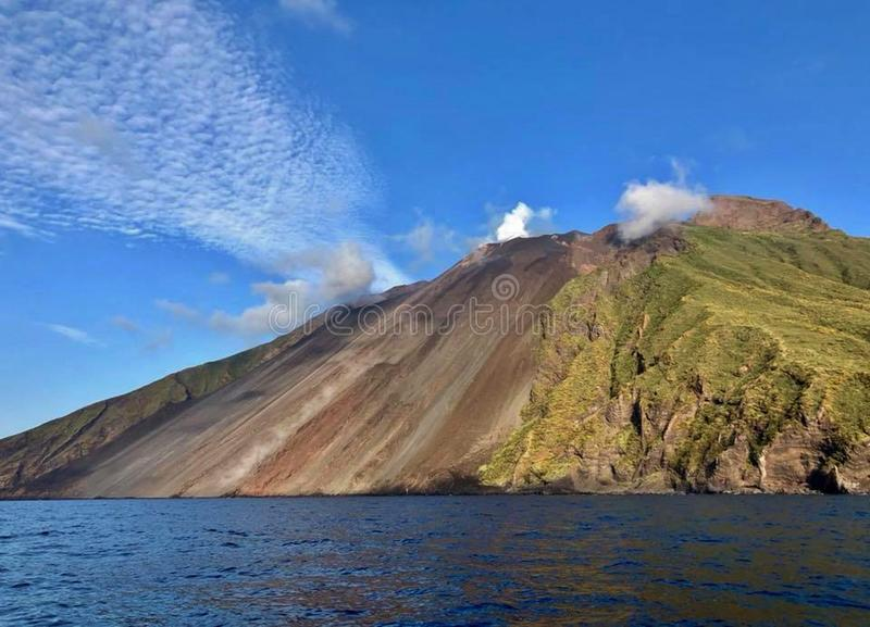 Stromboly is a small volcanic island with an active volcano. Located in the Tyrrhenian Sea north of Sicily, belongs to the group of the Aeolian Islands. The stock photo