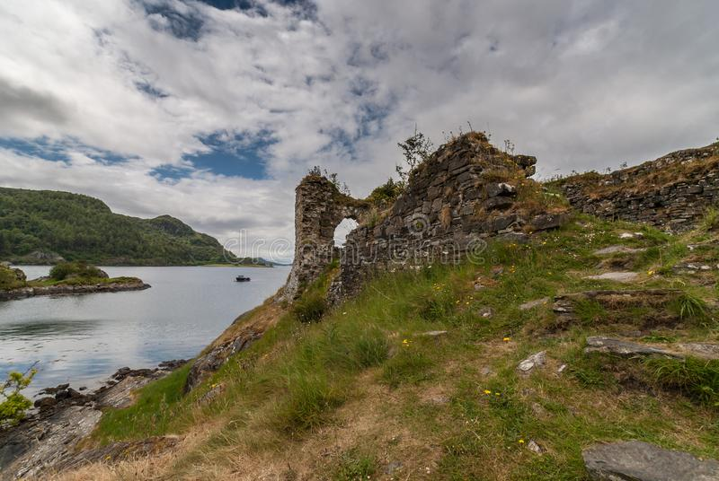 Part of Castle Strome ruins with Loch Carron, Scotland. Stromeferry, Scotland - June 10, 2012: Part of Castle Strome ruins on green hill. Green weeds on walls royalty free stock image