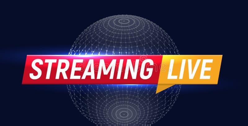 Stromend levend embleem, online videostroompictogram, de bannerontwerp van TV van wereld digitaal Internet, uitzendingsknoop, spe royalty-vrije illustratie