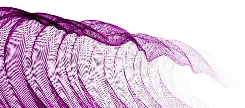 Stromende deeltjesgolf, de transparante textiel van Tulle op wind, de dynamische lijnen van de motiekromme Het mooie kalmeren vector illustratie