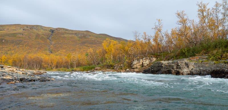 Stromende rivier in de herfst stock afbeelding