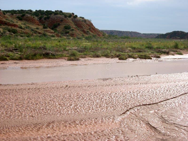 Stromende Rode Rivier Texas met textuur royalty-vrije stock foto's