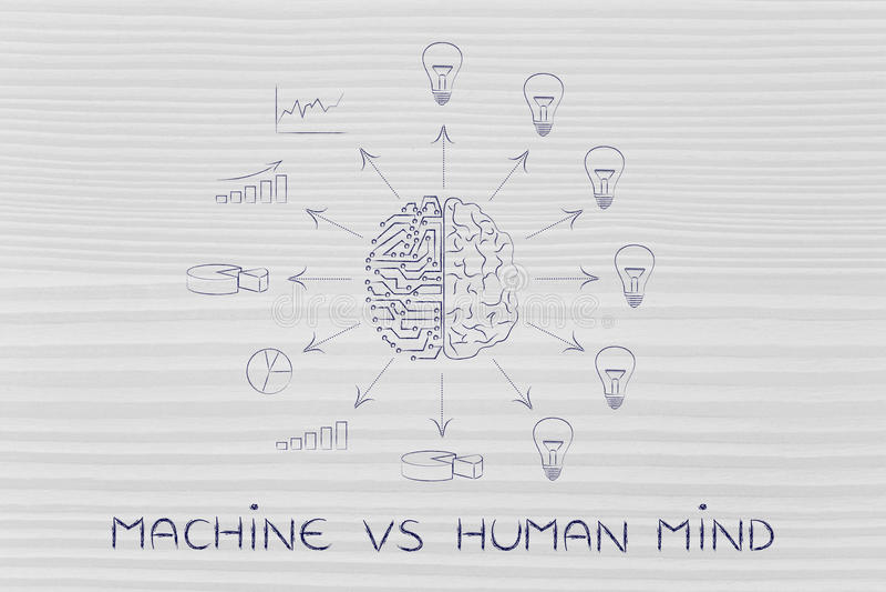 Stromkreise u. Gehirn, die verarbeitete Daten gegen Ideen, Maschine gegen MI schaffen stock abbildung