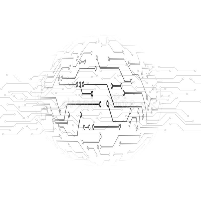 Stromkreismuster Abstrakter TechnologieLeiterplatte-Kreishintergrund Bahnmikrokreislauf unter der Lupe Vektor vektor abbildung