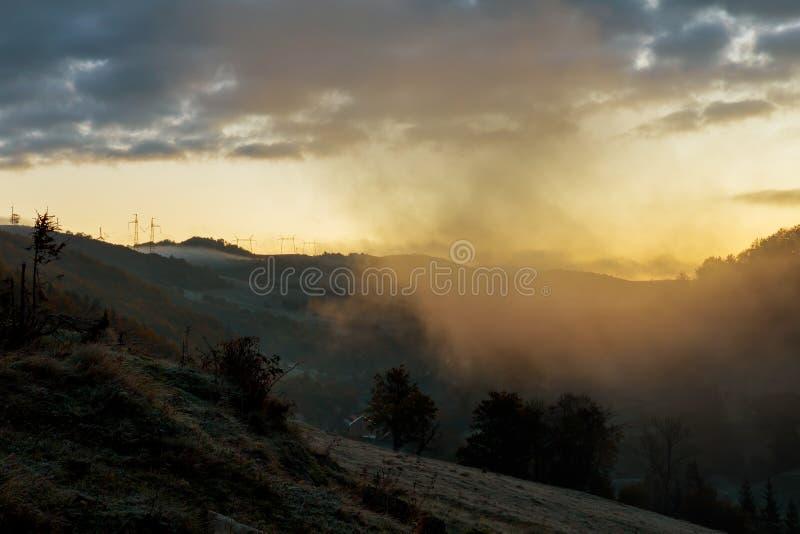Stromleitung Herbstbäume inmitten des Nebels bei Sonnenuntergang lizenzfreies stockfoto