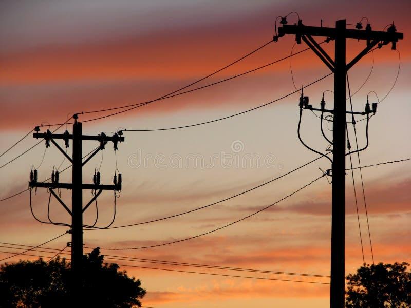 Stromleitung Schattenbild lizenzfreies stockbild
