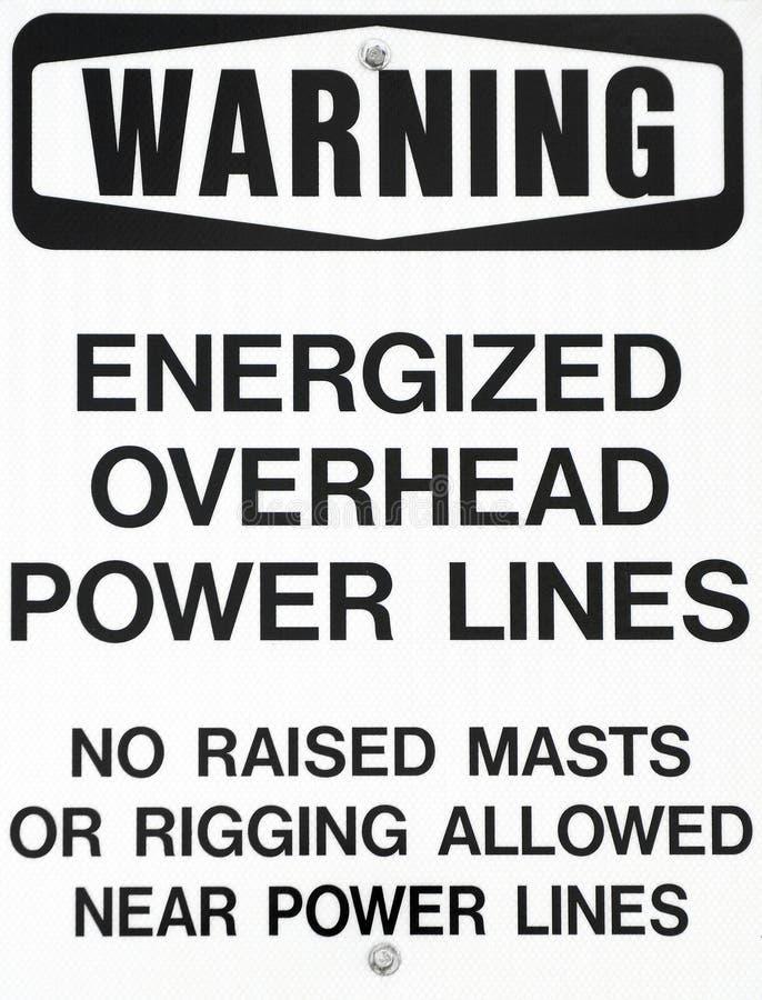 Stromleitungen Warnzeichen für Segelboote lizenzfreie stockbilder