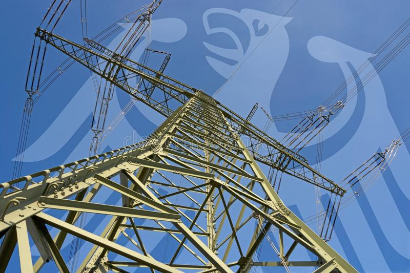 Electricity market in Germany. Symbolic image with German eagle in background stock images