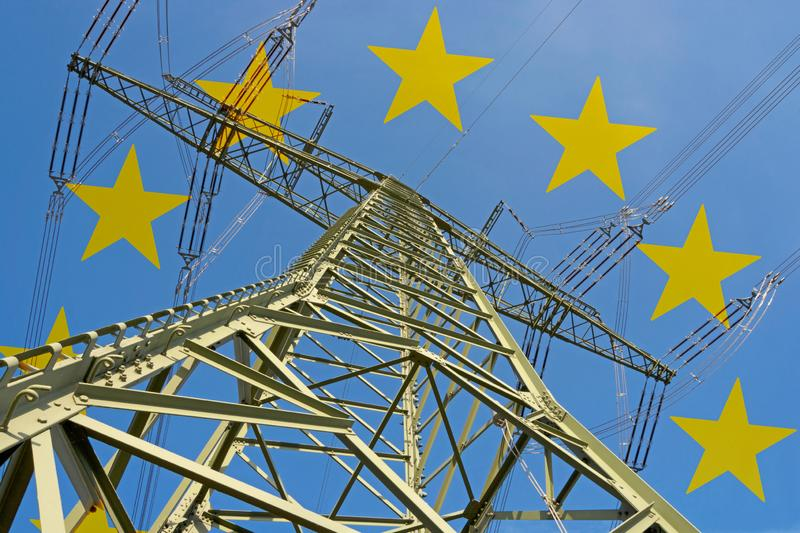 Electricity market in Europe. Symbolic image with European stars in background royalty free stock photo