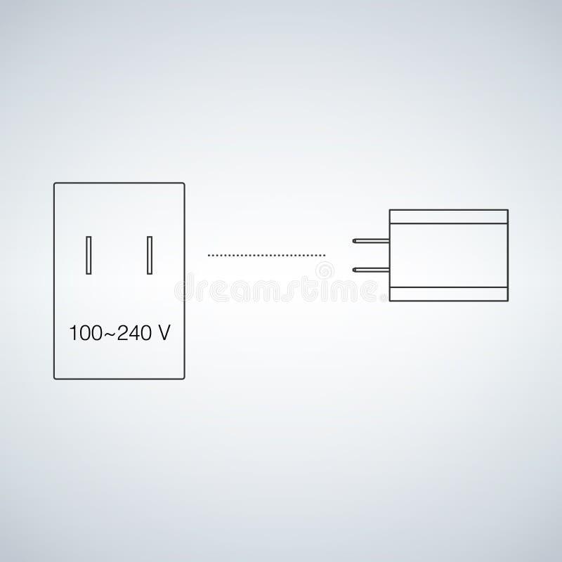 Stromstecker und -sockel des elektrischen Stroms Elektrisches Gerätladegerät Aufladungsgerätkonzept, flache Illustration stock abbildung