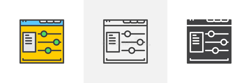 Stron internetowych opcji przeciw ilustracja wektor