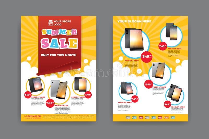 2 stron ulotki szablon dla lato sprzedaży promocji ilustracja wektor