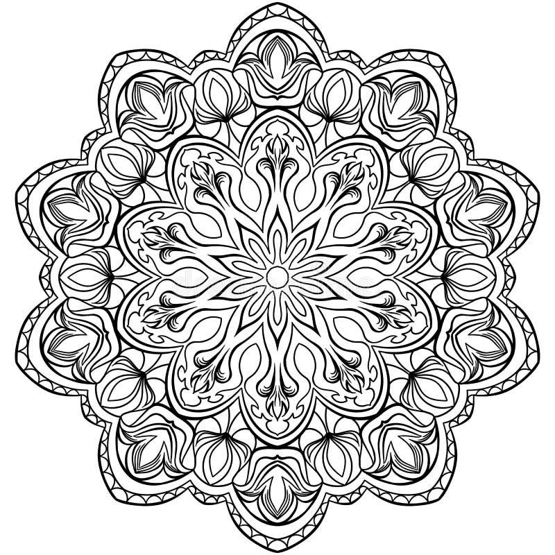 Strona Dla kolorystyki książki Konturów kwiaty Doodles w czarny i biały ilustracja wektor