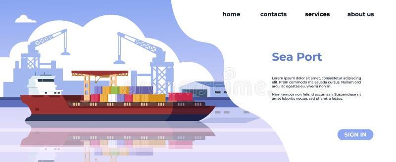 Strona docelowa portu morskiego Transport morski i logistyka morska strona internetowa z ładunkami statków i statków towarowych W ilustracja wektor