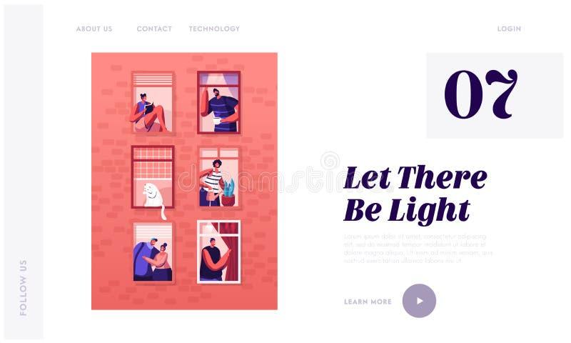 Strona docelowa witryny sieci Web Human Life Zewnętrzna ściana domu z różnymi ludźmi i kotami w oknach Szczęśliwi mężczyźni i kob royalty ilustracja