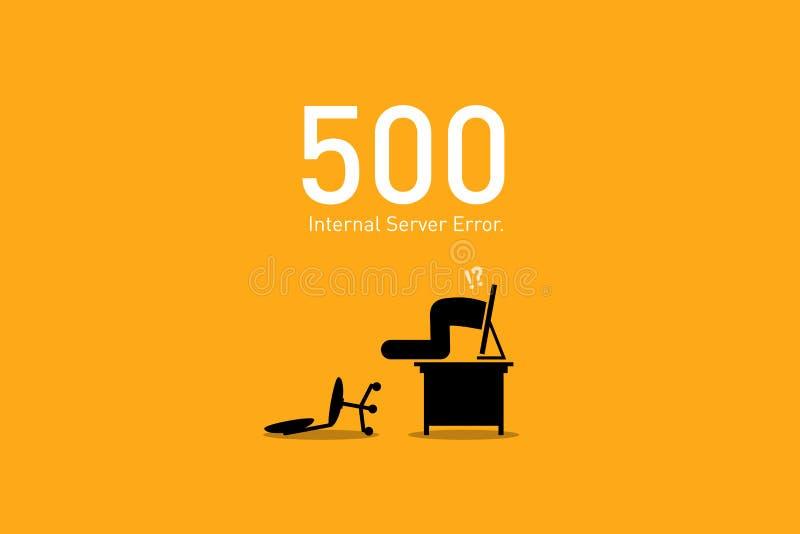 Strona internetowa błąd 500 Wewnętrzny serweru błąd ilustracja wektor