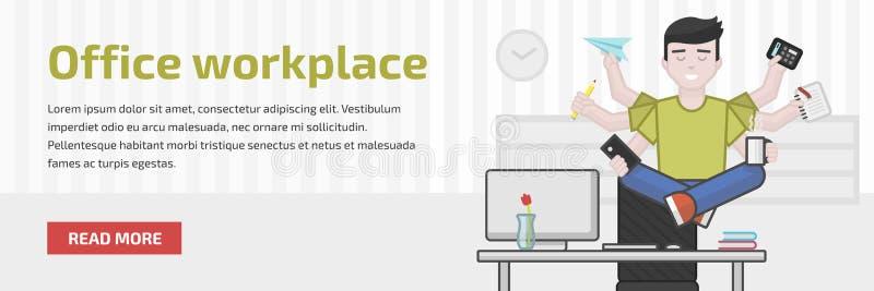 Strona internetowa chodnikowa płaska ilustracja medytować multitasking urzędnika royalty ilustracja