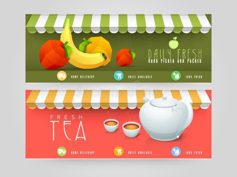 Strona internetowa chodnikowiec lub sztandaru projekt dla restauraci royalty ilustracja