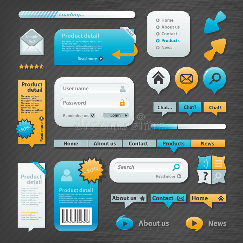Strona internetowa elementy ilustracja wektor