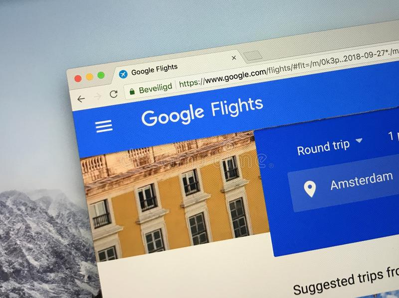 Strona internetowa Google loty obrazy stock