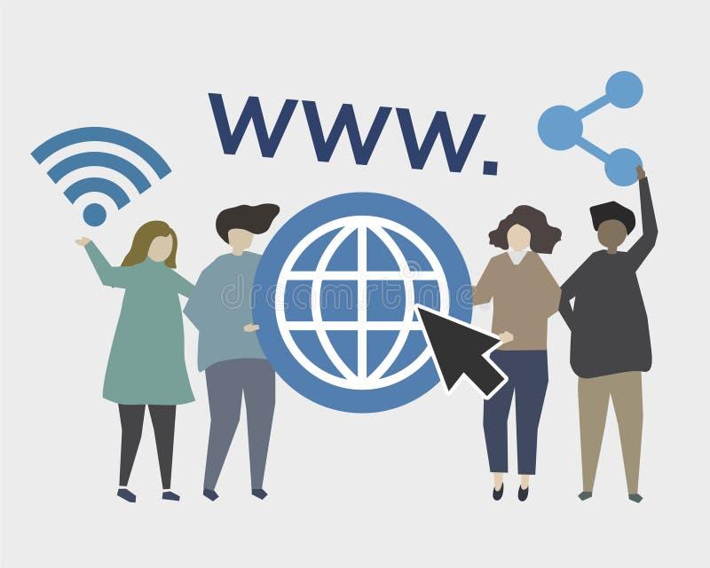 Strona internetowa i online obecności ilustracja ilustracji