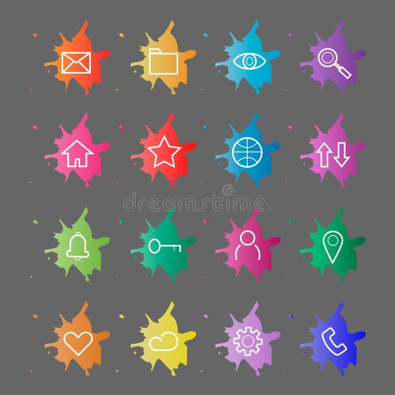 Strona Internetowa interneta ikony Kreskowe ikony na tle kleksy farba ilustracja wektor
