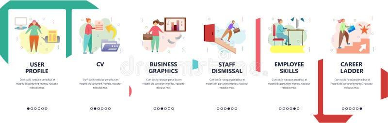 Strona internetowa onboarding ekrany Biznesowa kariera, akcydensowy życiorys i pracownik umiejętności, Menu sztandaru wektorowy s ilustracja wektor