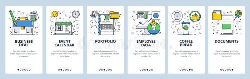 Strona internetowa onboarding ekrany Biznesowe i biurowe ikony ustawiać Menu sztandaru wektorowy szablon dla strony internetowej  ilustracja wektor