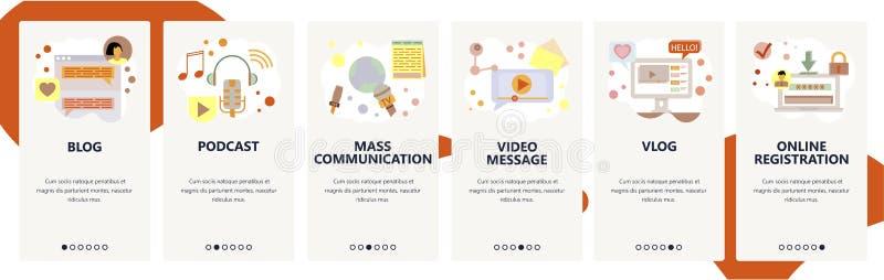 Strona internetowa onboarding ekrany Cyfrowego marketing i online ogólnospołeczni środki, blog, podcast, wideo strumień Menu wekt ilustracja wektor