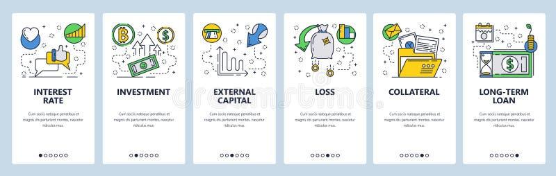 Strona internetowa onboarding ekrany Finanse, bankowość, inwestycja, pieniądze przepływ Menu sztandaru wektorowy szablon dla stro ilustracji