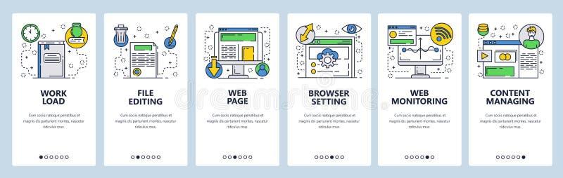 Strona internetowa onboarding ekrany Strona internetowa interneta i zawartości monitorowanie Komputerowe online usługi Menu wekto ilustracji
