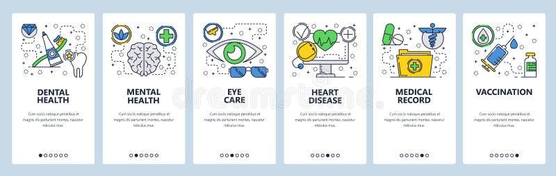 Strona internetowa onboarding ekrany Medycznego checkup i ciała zdrowie szczepienie i książeczki zdrowie, Menu wektoru sztandar royalty ilustracja