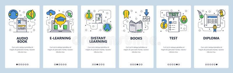 Strona internetowa onboarding ekrany Online edukacja i nauczanie online Książki, egzaminy i dyplom, Menu sztandaru wektorowy szab royalty ilustracja