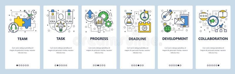 Strona internetowa onboarding ekrany Zadanie ostateczny termin i postęp Menu sztandaru wektorowy szablon dla strony internetowej  royalty ilustracja