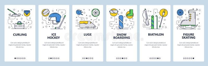 Strona internetowa onboarding ekrany Zima sport, hokej na lodzie, jazda na snowboardzie, biathlon i łyżwiarstwo figurowe, Menu we ilustracja wektor