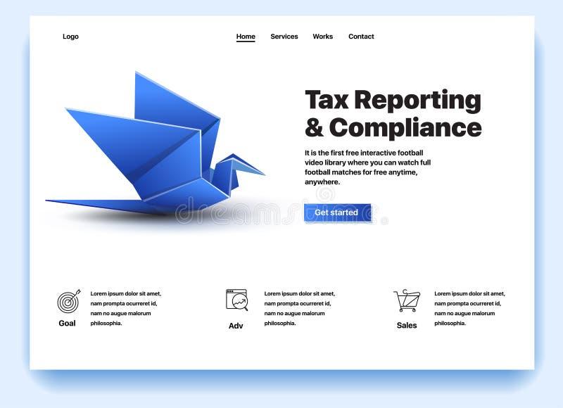 Strona internetowa pod warunkiem, że usługa podatek zgodność i reportaż ilustracji