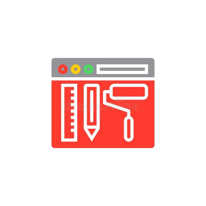 Strona internetowa projekta ikony wektor, wypełniający mieszkanie znak, stały kolorowy pic royalty ilustracja