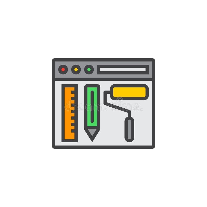 Strona internetowa projekta linii ikona, wypełniający konturu wektoru znak, liniowy col royalty ilustracja