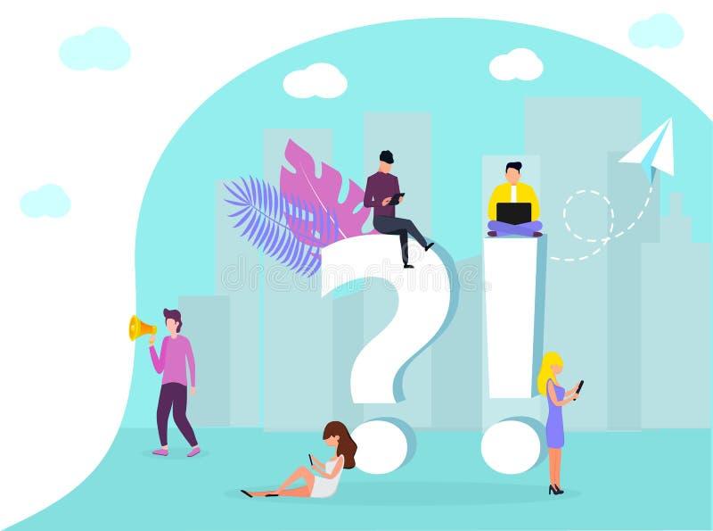 Strona internetowa projekta szablon dla FAQ ilustracji
