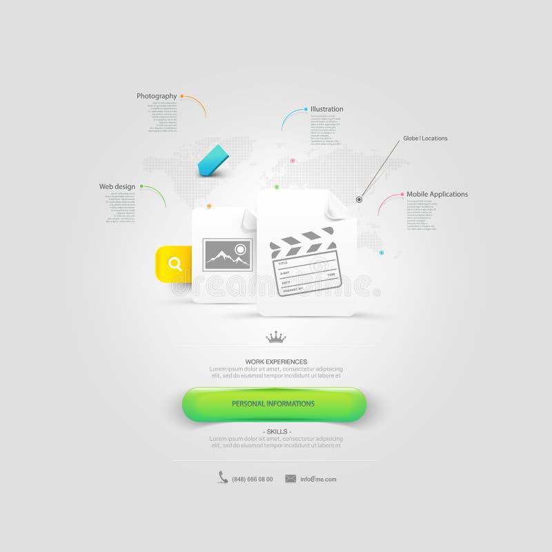 Strona internetowa projekta szablonu elementy: vCard portfolio z ikonami ilustracji