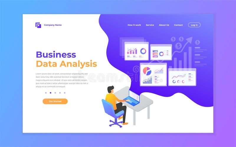 strona internetowa projekta szablony dla dane analizy, cyfrowego marketingu, pracy zespołowej, strategii biznesowej i analizy, no royalty ilustracja