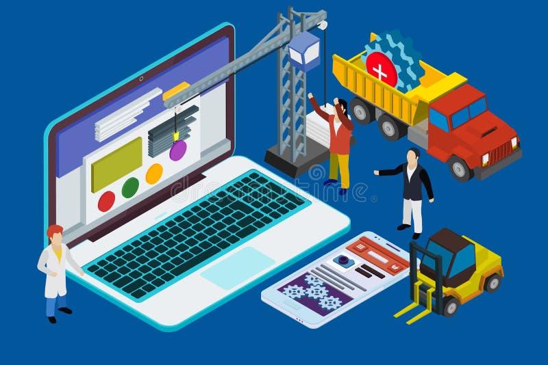 Strona internetowa rozwój, doświadczająca drużyna Mieszkanie 3d isometric ilustracji