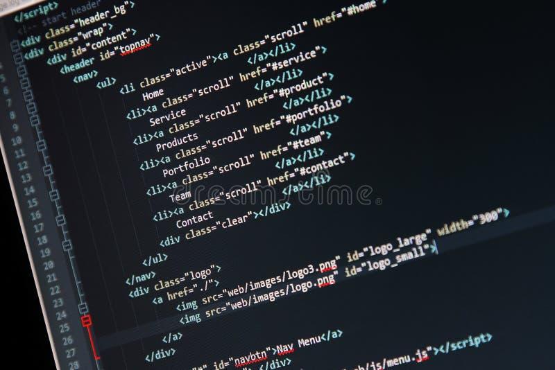 Strona internetowa rozwój - programowanie kod na ekranie komputerowym zdjęcia royalty free