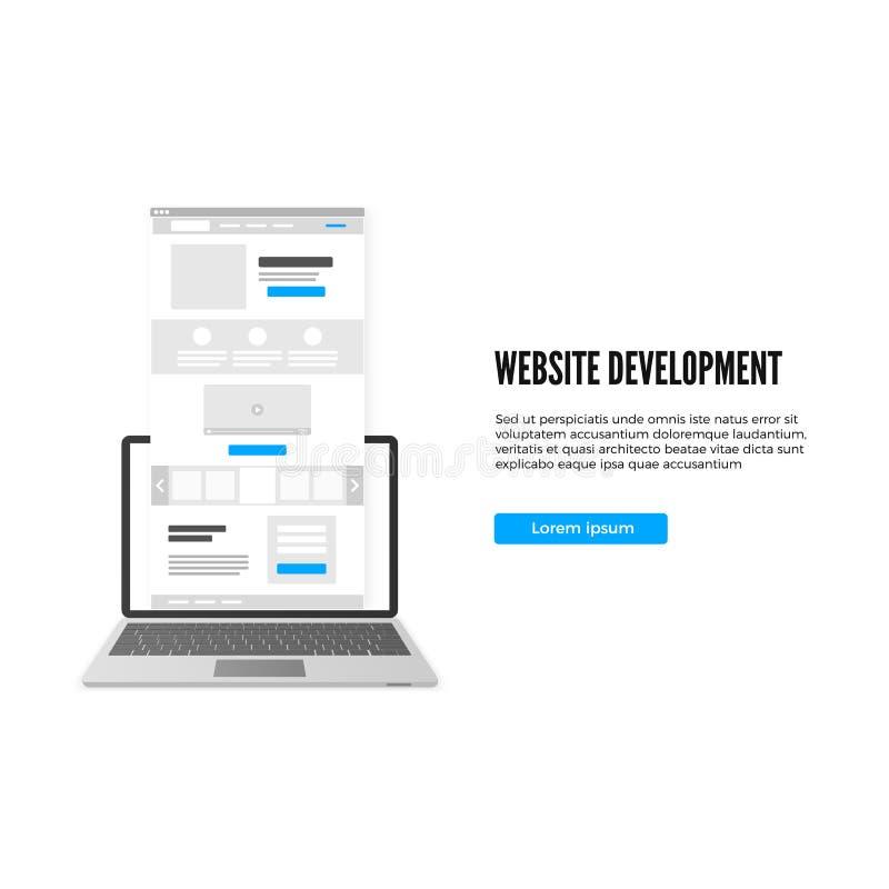 Strona internetowa rozwoju pojęcie Desantowy strona biznesu szablon Desantowy strona szkic z wezwaniem akcja guzik wektor ilustracji