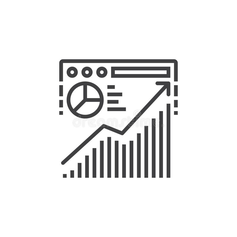 Strona internetowa ruchu drogowego analizy linii ikona, konturu wektoru znak, liniowy royalty ilustracja